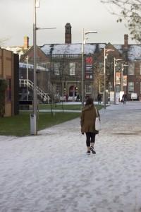 Snow on College Road campus