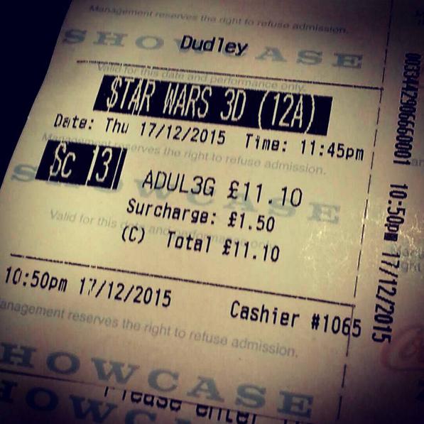 Jaz's Star Wars Cinema ticket