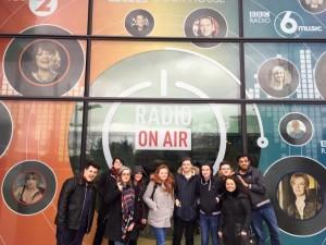 Level 4 radio production students outside BBC Radio