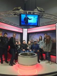 Level 4 radio production students pretending to present