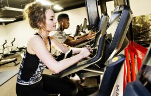 Students on exercise bikes at Staffordshire University