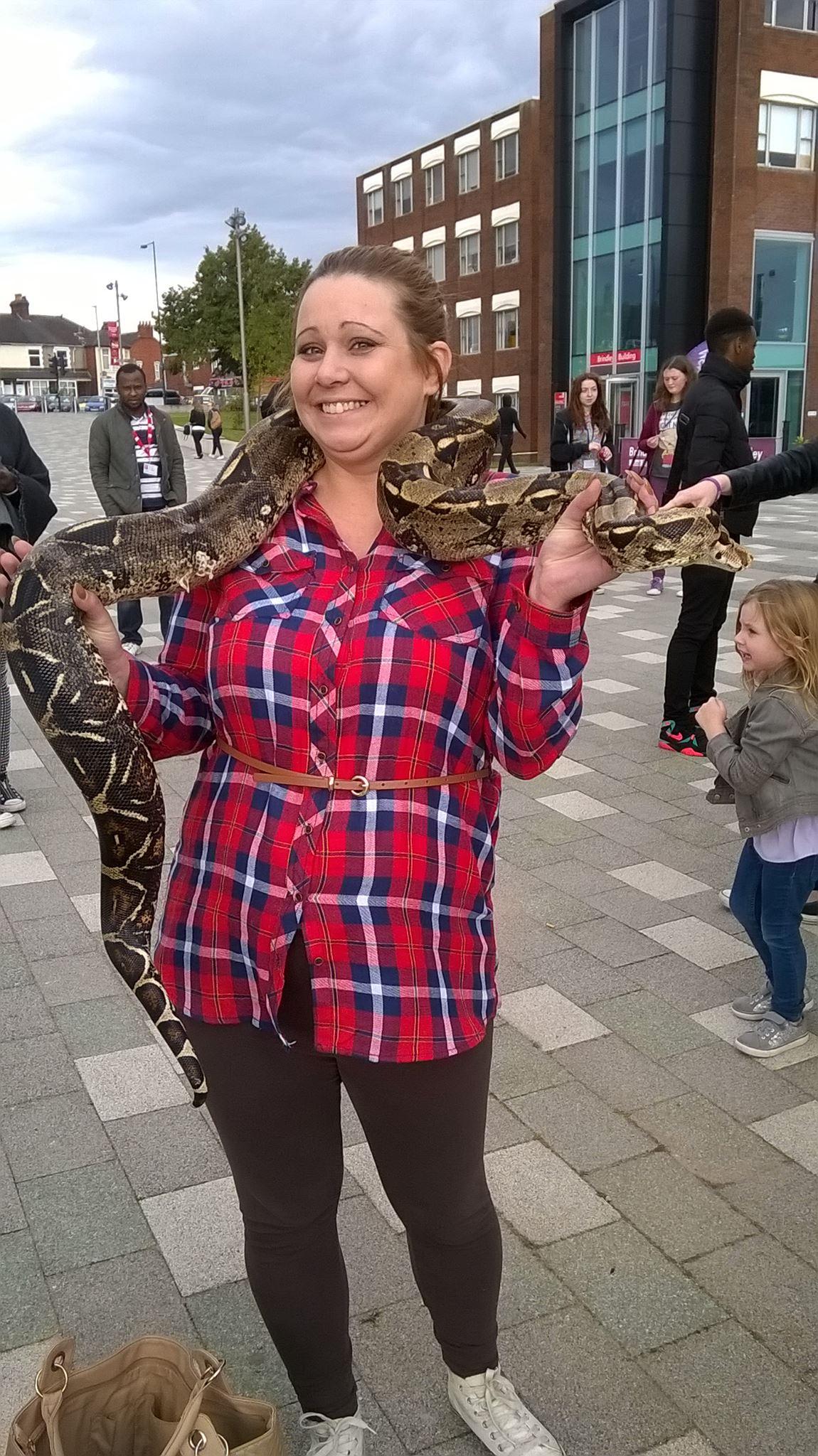 Lauren holding a snake