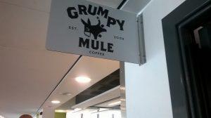 Grumpy Mule coffee sign in the Brindley building